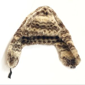Topshop brown tan fuzzy faux fur trapper hat